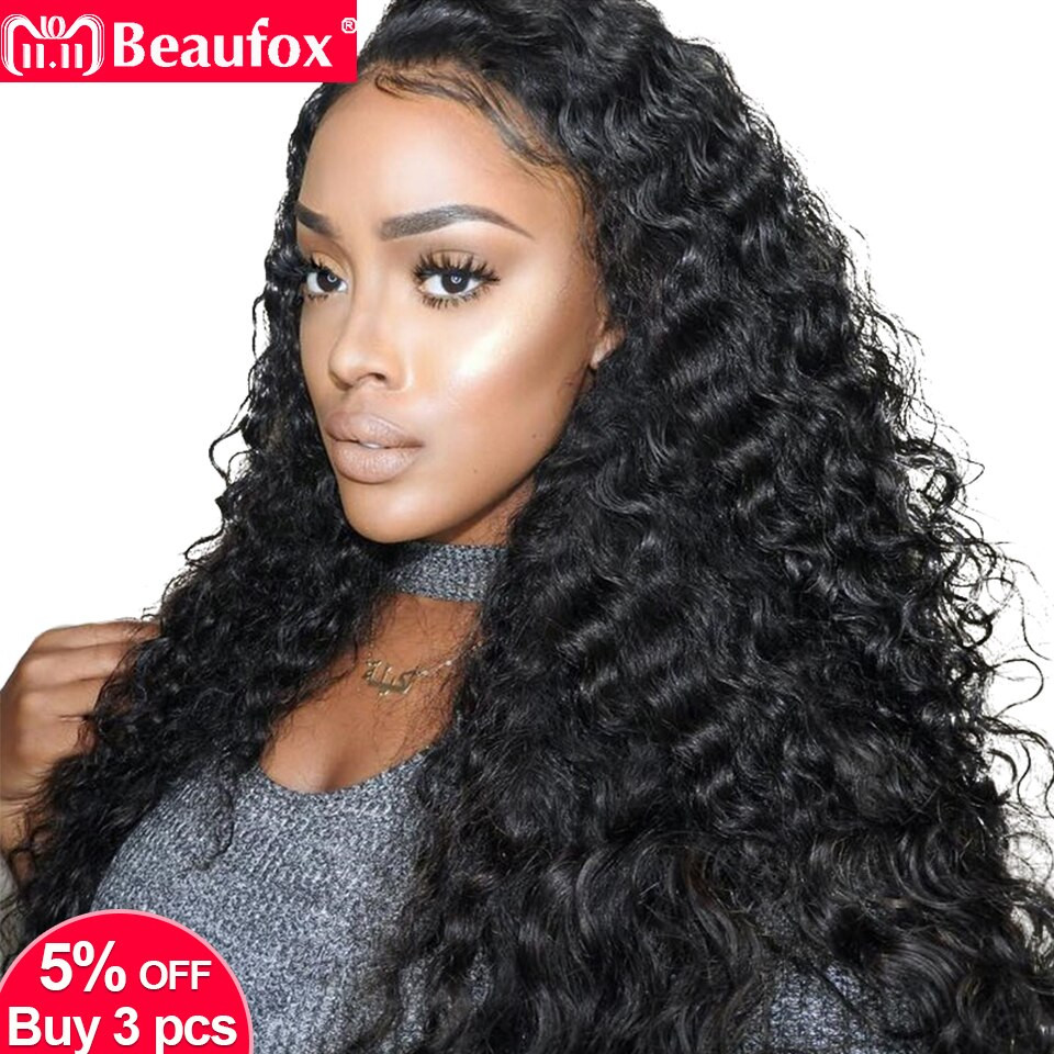 Human Hair Lace Front Wigs With Baby Hair  Lace Front Human Hair Wigs Brazilian Deep Wave Wig Pre