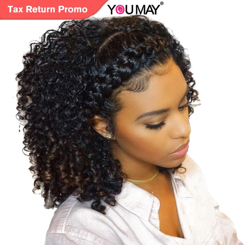 Human Hair Lace Front Wigs With Baby Hair  Kinky Curly Wig 360 Lace Frontal Wigs Pre Plucked With