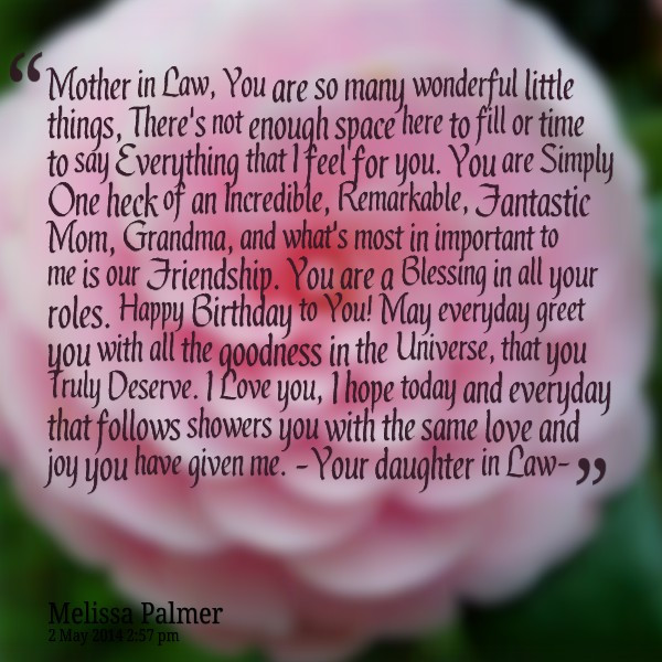 I Love My Mother In Law Quotes  47 Happy Birthday Mother in Law Quotes My Happy Birthday