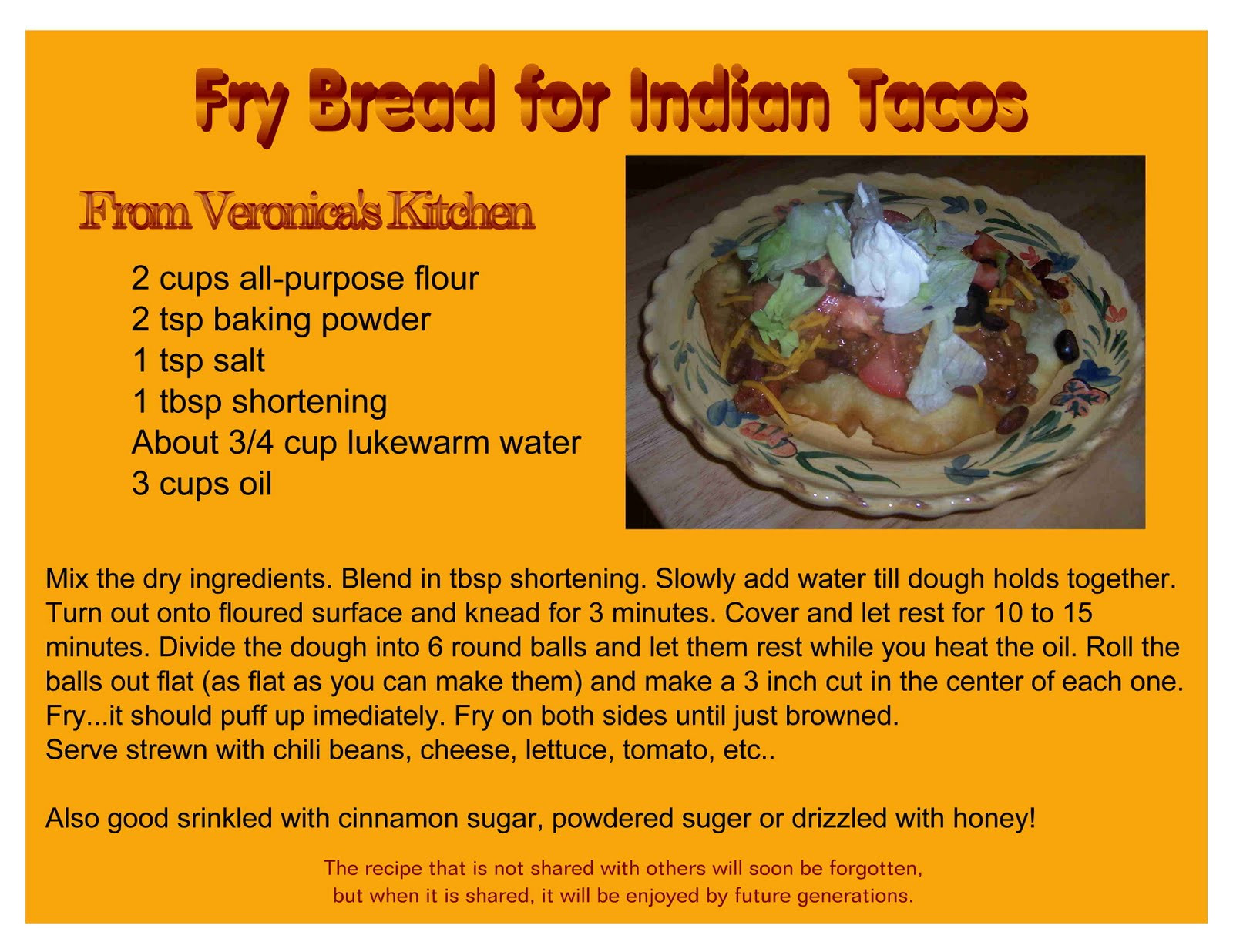Indian Taco Fry Bread Recipe  from veronica s kitchen Fry Bread for Indian Tacos