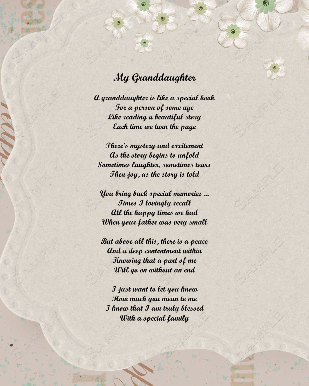 Inspirational Quotes From Grandmother To Granddaughter  Granddaughter Poem Love Poem 8 X 10 Print by