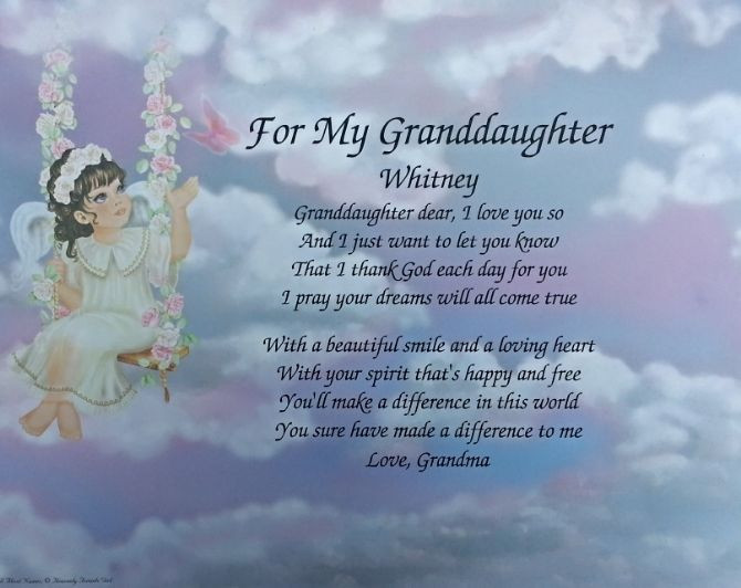 Inspirational Quotes From Grandmother To Granddaughter  POEM FOR MY GRANDDAUGHTER BIRTHDAY OR CHRISTMAS