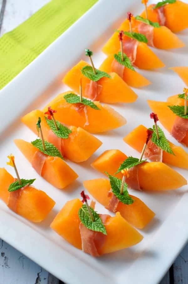 Italian Appetizers Easy  Prosciutto with Melon and Mint an easy Italian appetizer