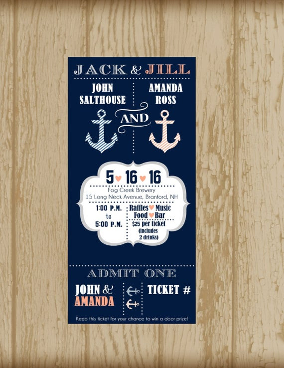 Jack And Jill Bachelor Bachelorette Party Ideas  Jack and Jill Invitation Nautical Theme Stag by