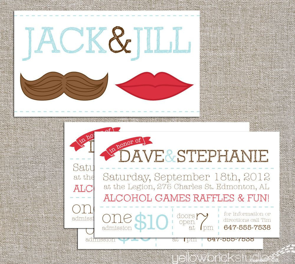 Jack And Jill Bachelor Bachelorette Party Ideas  Jack & Jill Tickets Stag and Doe Mr and Mrs digital