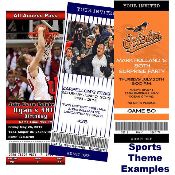 Jack And Jill Bachelor Bachelorette Party Ideas  You can Print Custom Ticket birthday sports jack and jill