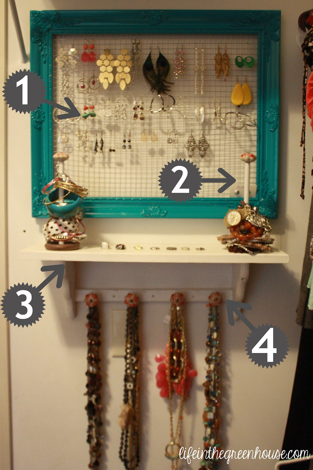 Jewelry Organization DIY  jewelry organization DIY Life in the Green House