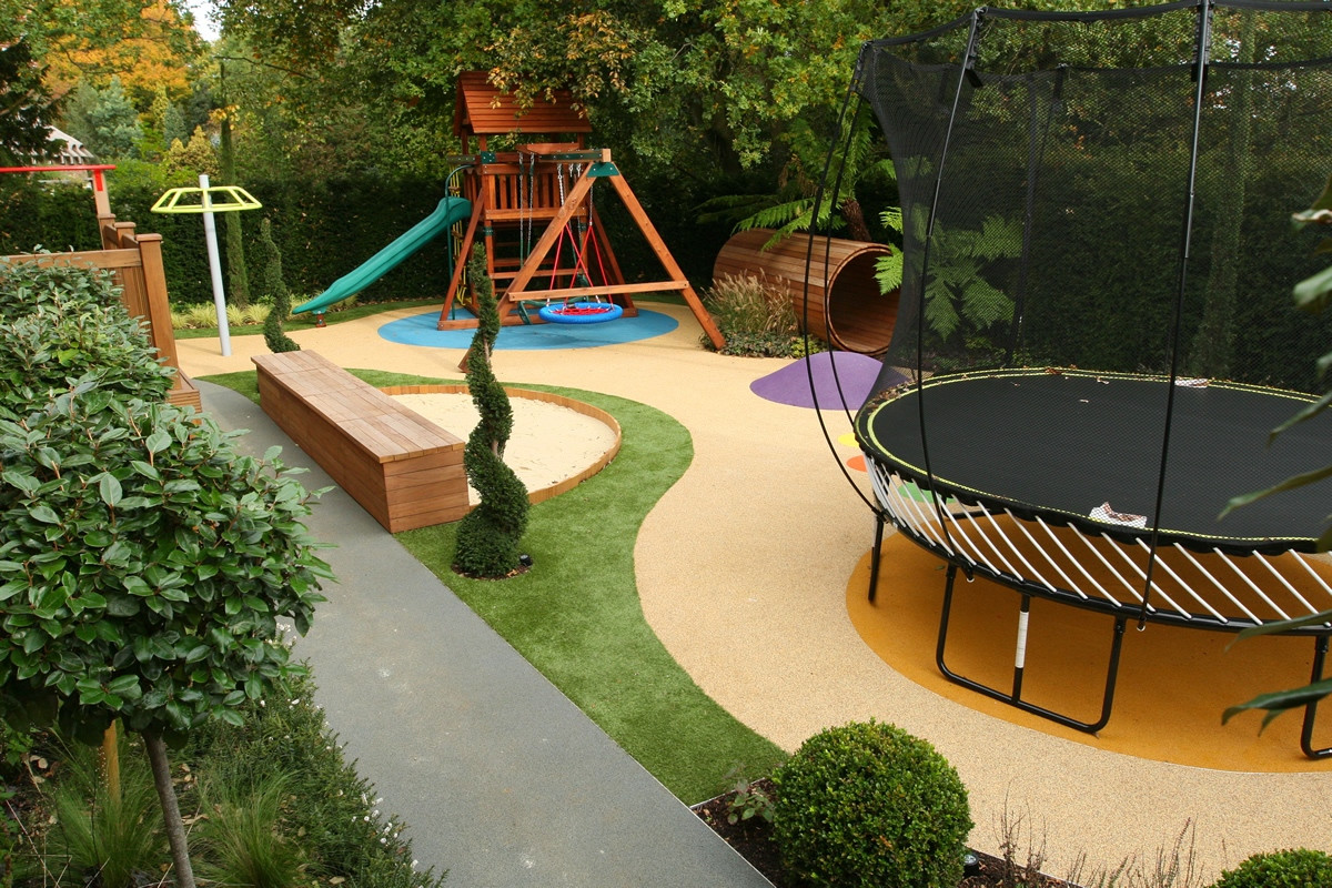 Kid Friendly Backyard Ideas  Children s Play Area designed for large private garden in