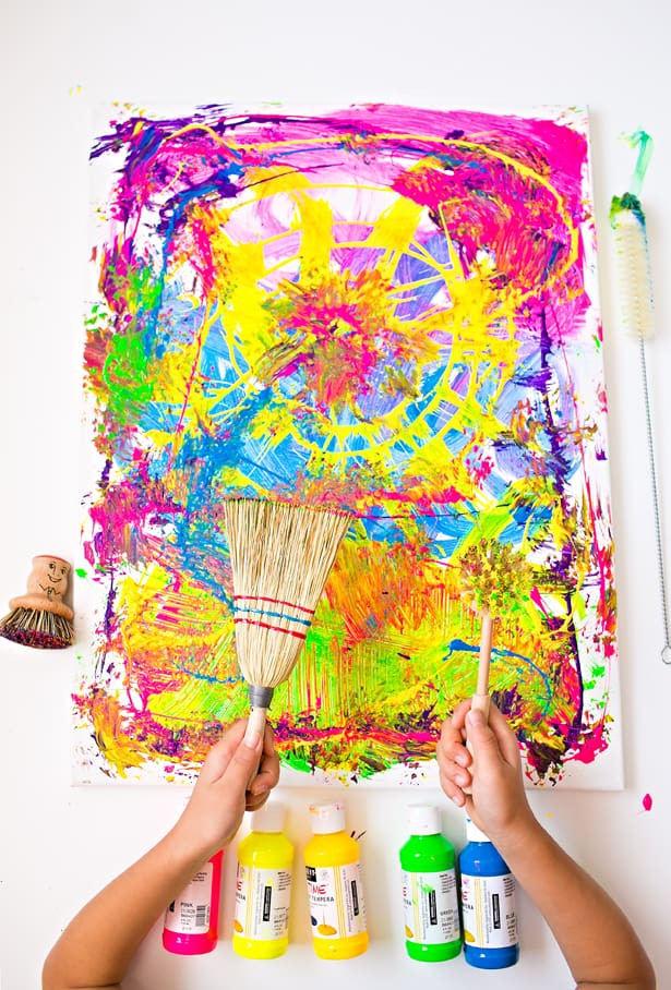 Kids Art Projects  CLEANING BRUSHES PAINTING WITH KIDS FUN PROCESS ART PROJECT