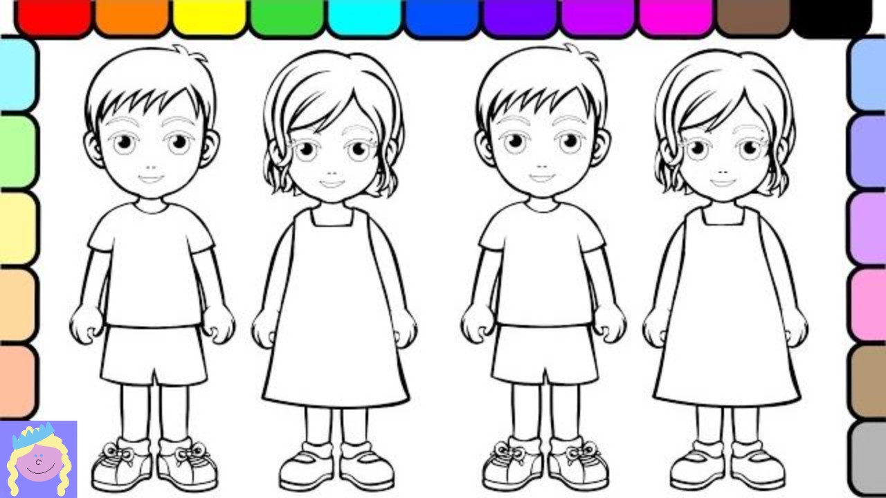 Kids Coloring Picture  Learn How to Color People With Digital Coloring Book For