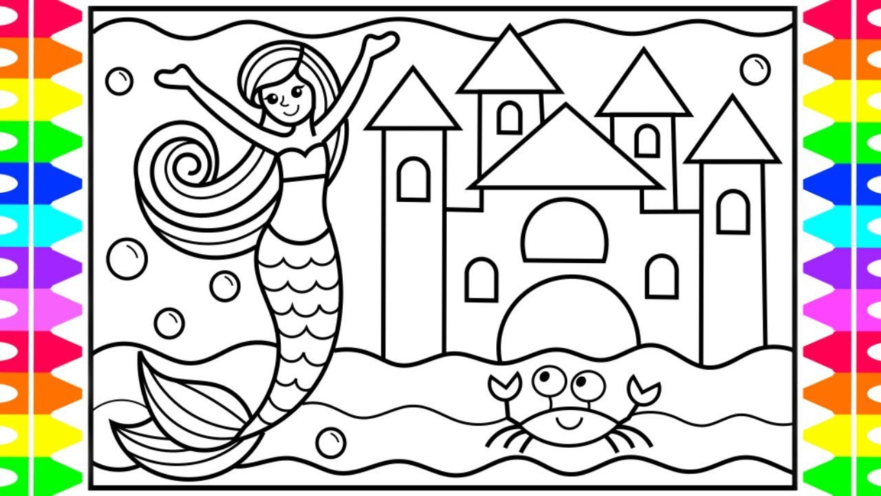 Kids Coloring Picture  How to Draw a Mermaid for Kids 💜💖💚 Mermaid Drawing for