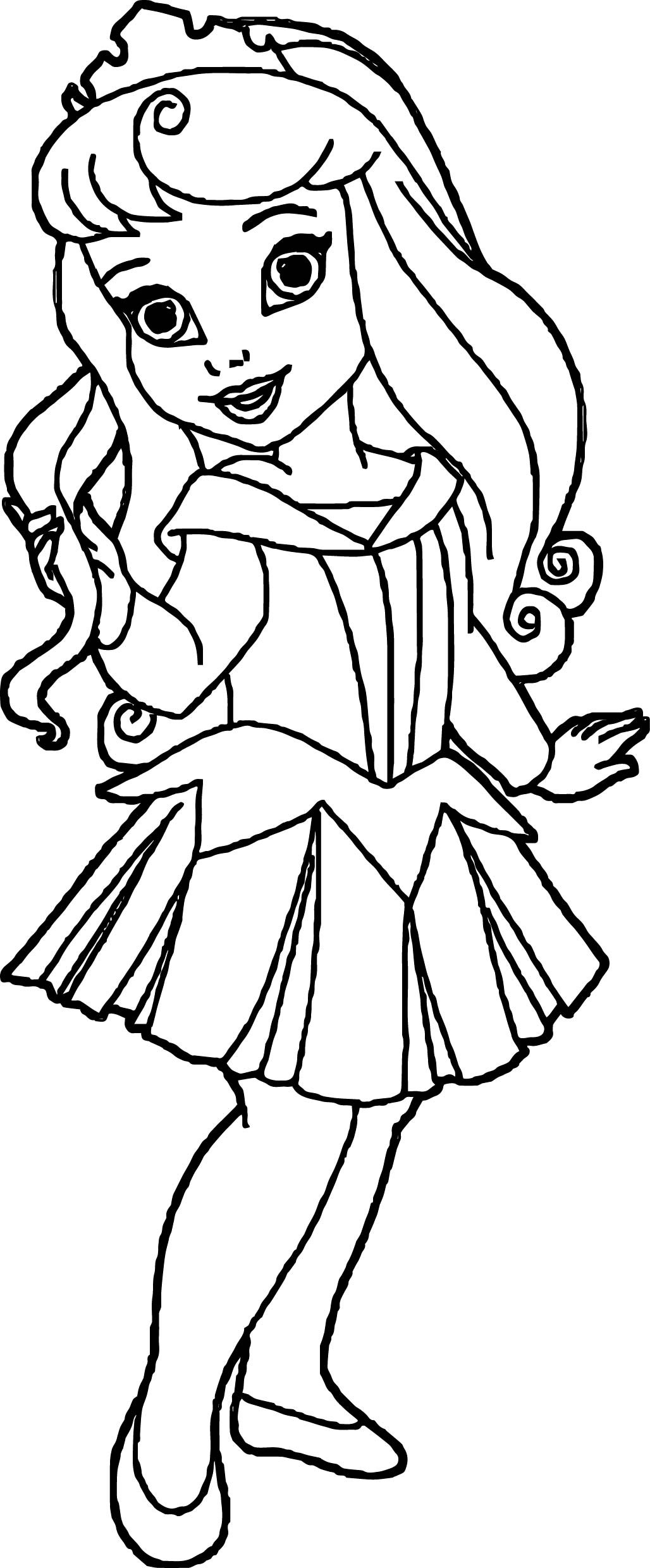 Kids Coloring Picture  Small Kid Princess Coloring Page