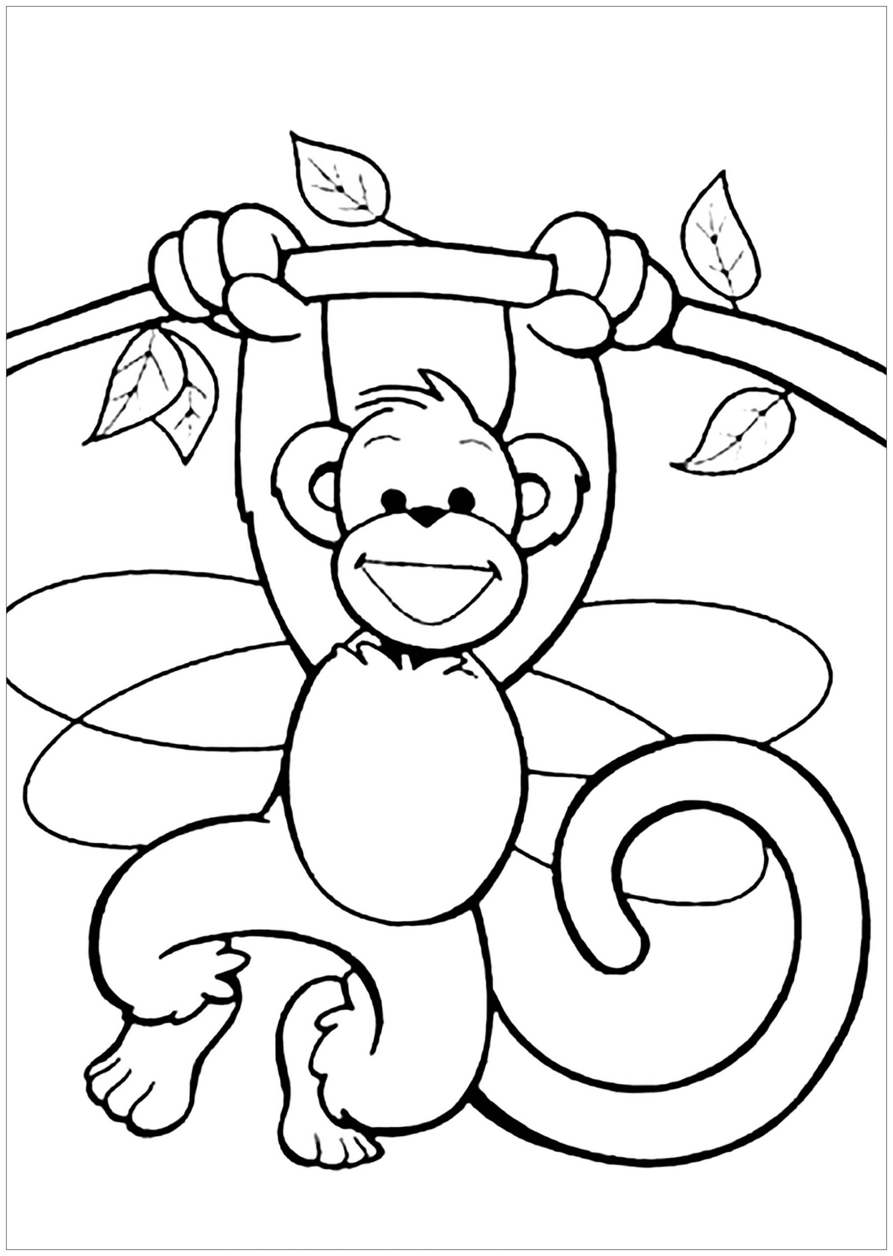 Kids Free Coloring Pages  Monkeys to for free Monkeys Kids Coloring Pages