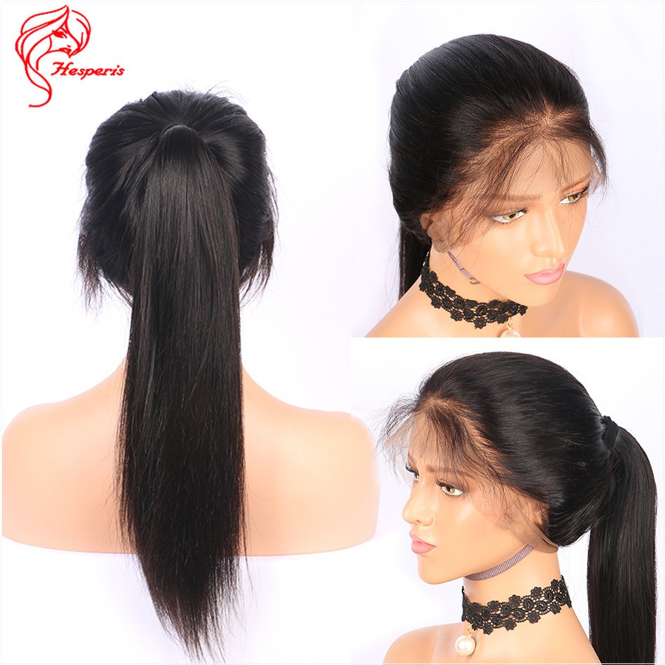 Lace Wigs Baby Hair  Silky Straight Human Hair Full Lace Wig With Baby Hair