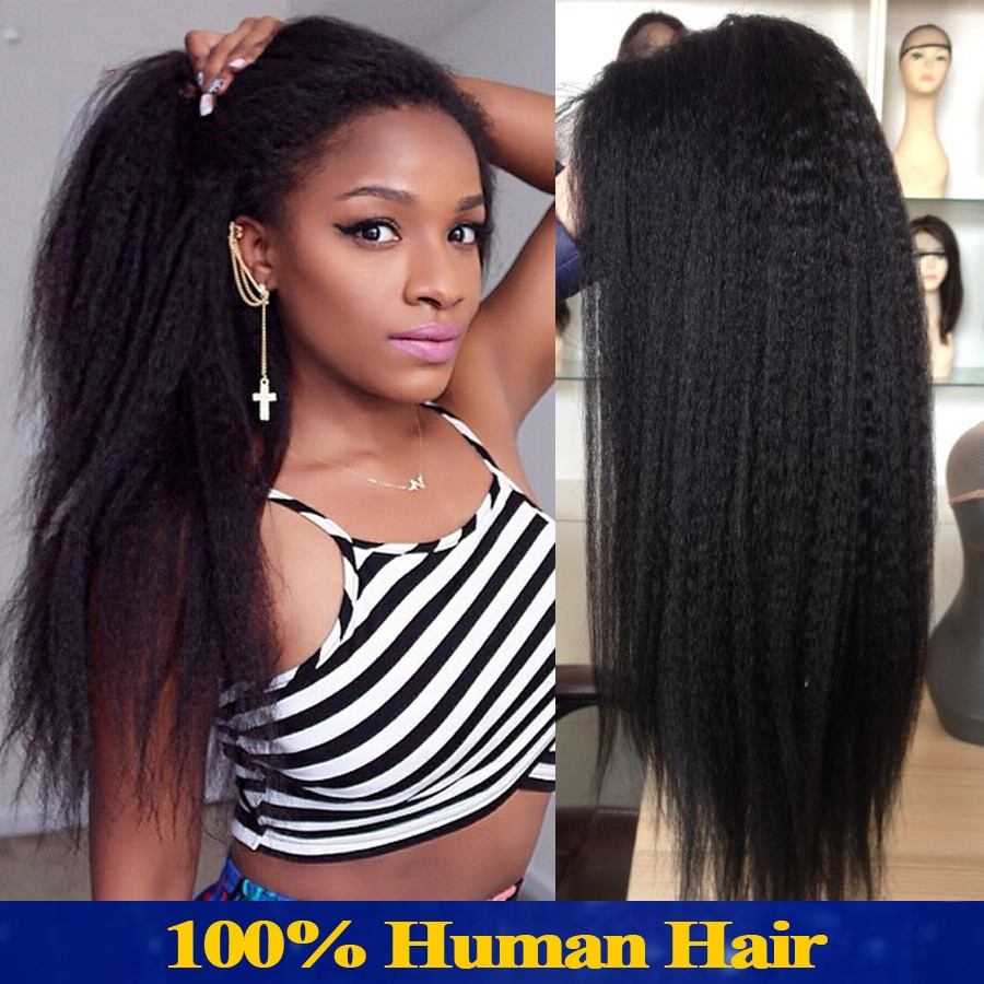 Lace Wigs Baby Hair  Italian Yaki Full Lace Wig Peruvian Human Hair Lace Front