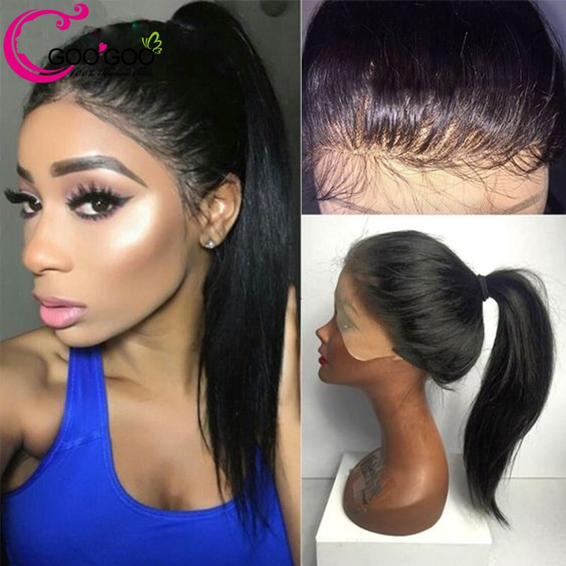 Lace Wigs Baby Hair  GooGooing High Ponytail Full Lace Wigs Human Hair With