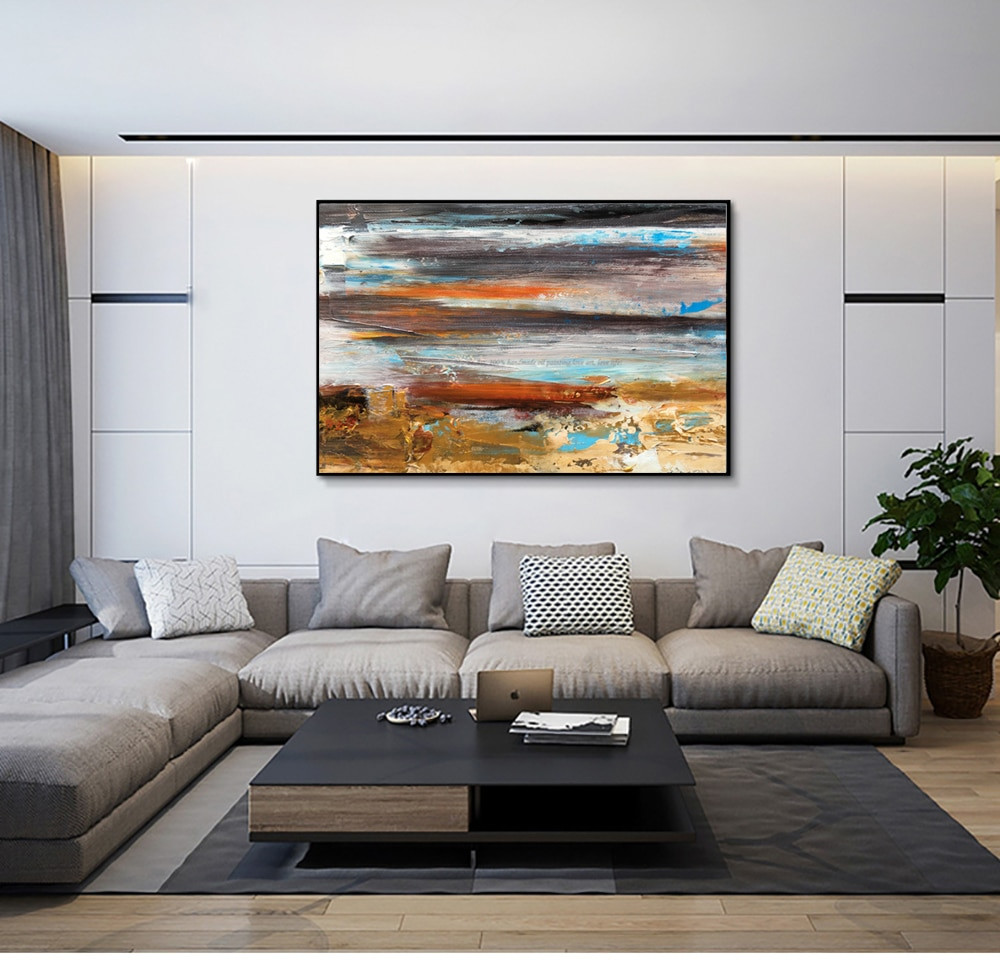 Large Paintings For Living Room  oil Painting on canvas Abstract Art Modern yellow