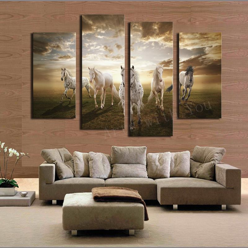Large Paintings For Living Room  2017 Real Paintings Unframed Running Horse Hd Home
