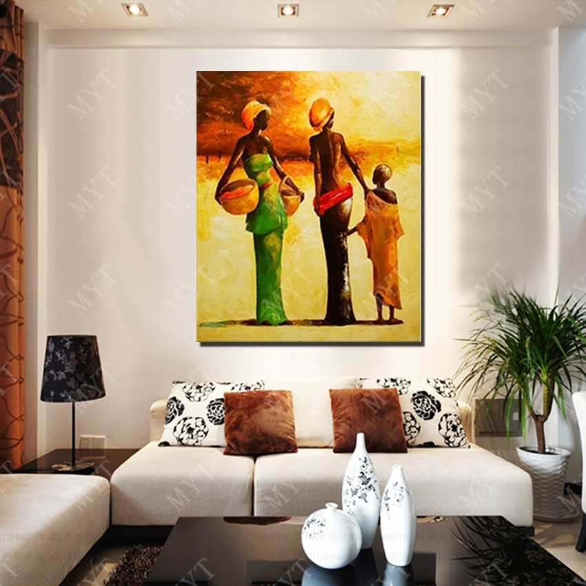 Large Paintings For Living Room  New Design Modern African Women Oil Painting Living Room