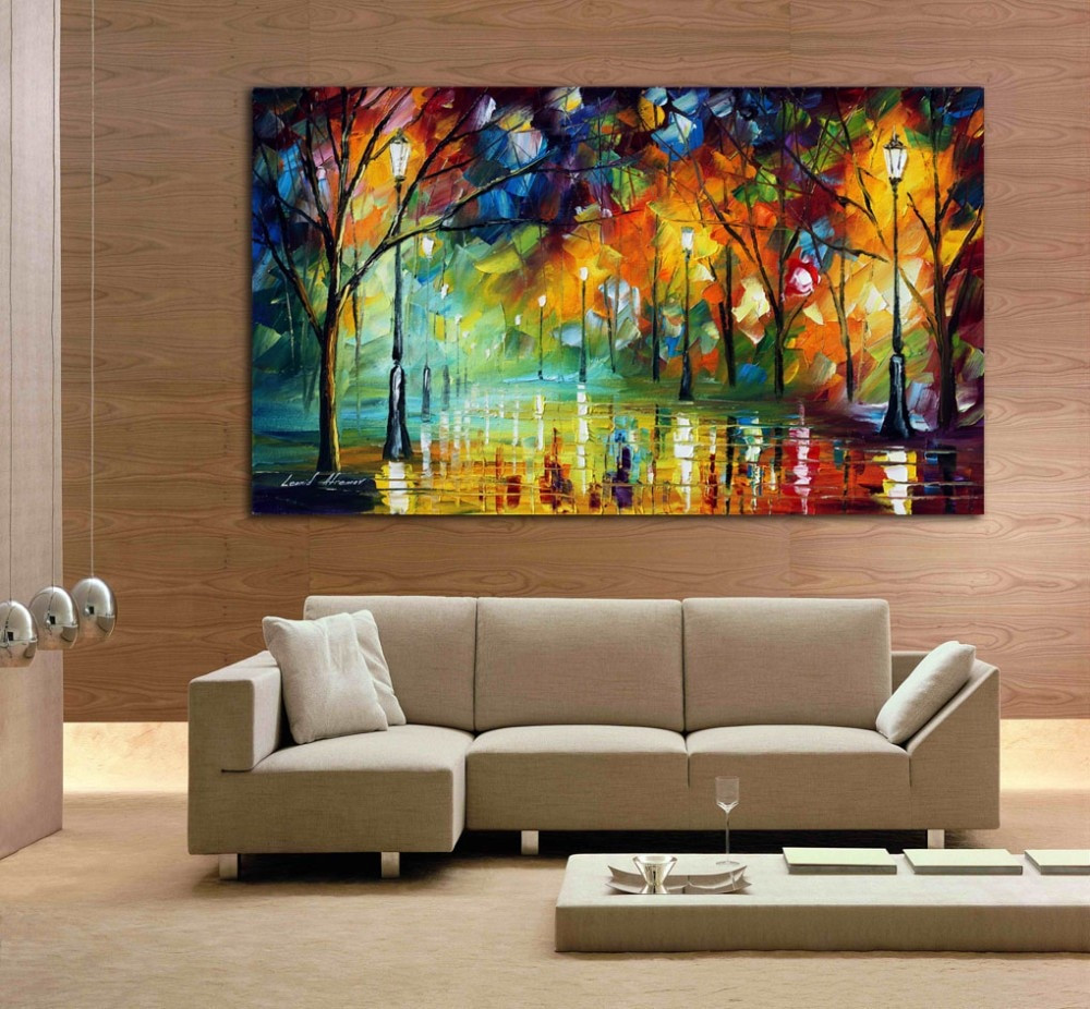 Large Paintings For Living Room  hand drawn city at night 3 knife painting modern