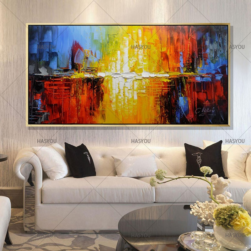 Large Paintings For Living Room  Handmade Oil Painting Canvas Modern Abstract