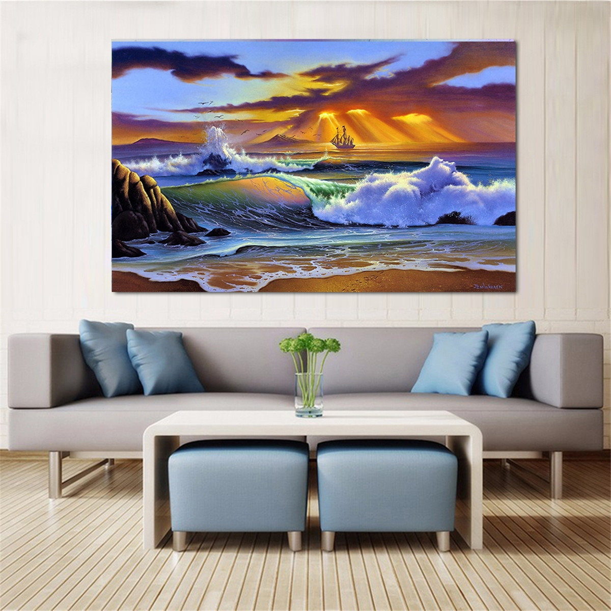 Large Paintings For Living Room  Abstract Paintings Size Sea Wave Painting on Canvas