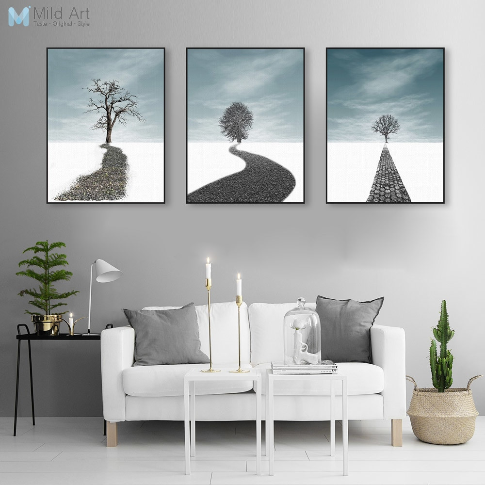 Large Paintings For Living Room  Landscape Abstract Tree Canvas Poster Print