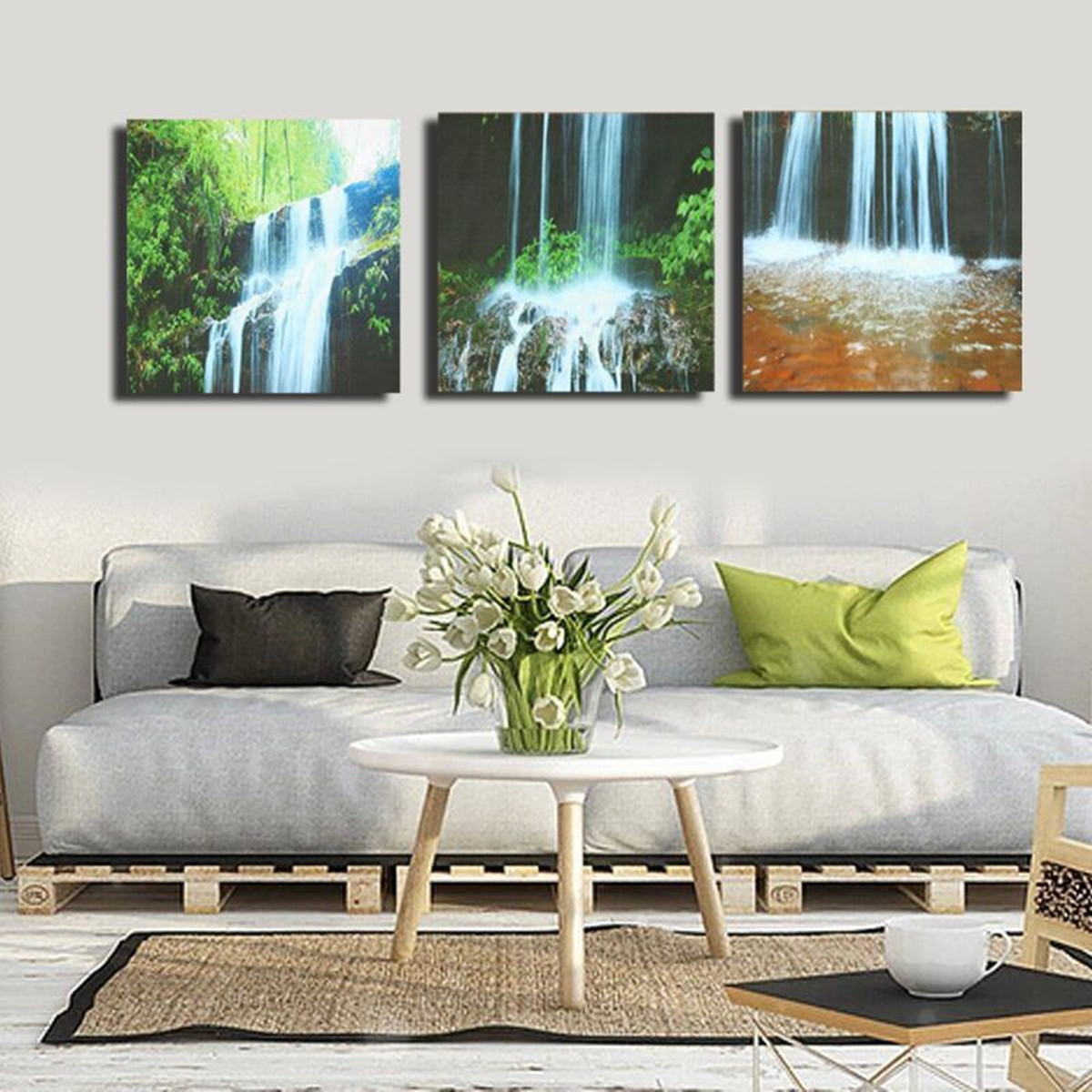 Large Paintings For Living Room  3 Cascade Waterfall Framed Print Painting Canvas