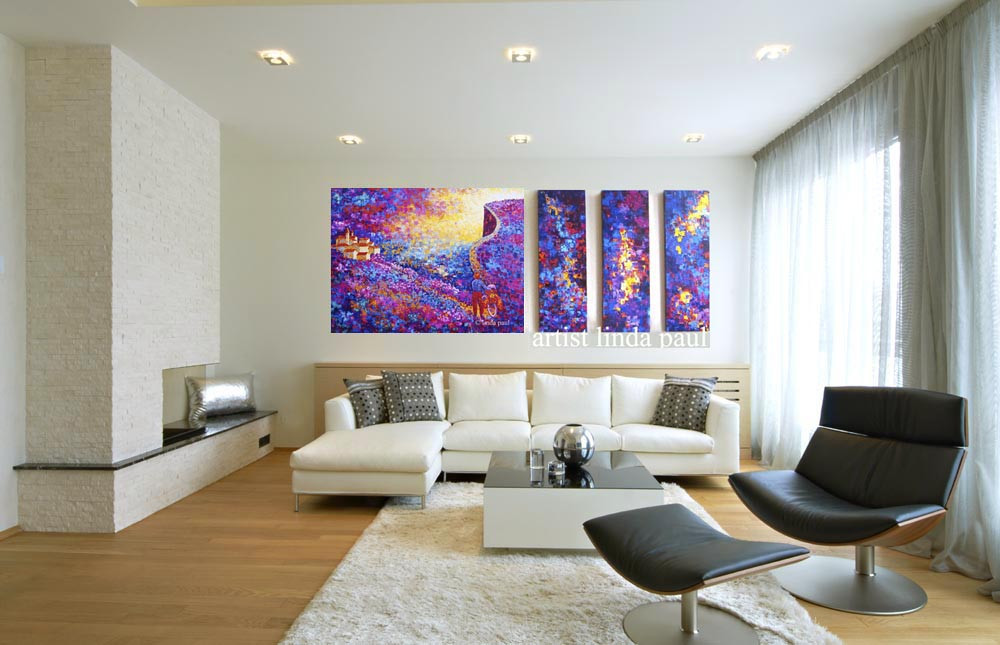 Large Paintings For Living Room  The Road Less Traveled Contemporary Art Paintings