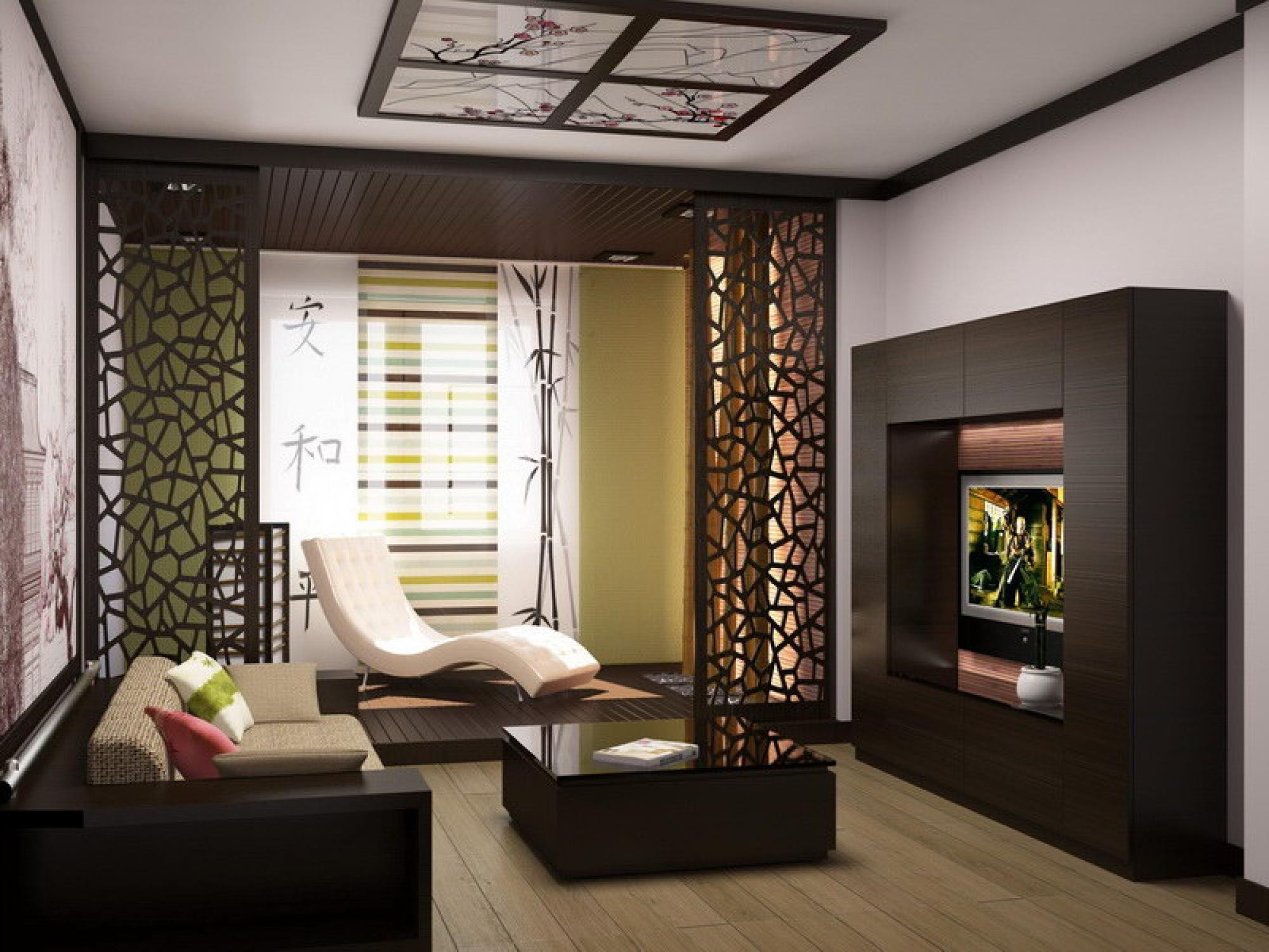Living Room Partition Ideas  Partition between living and dining glass door bookcase