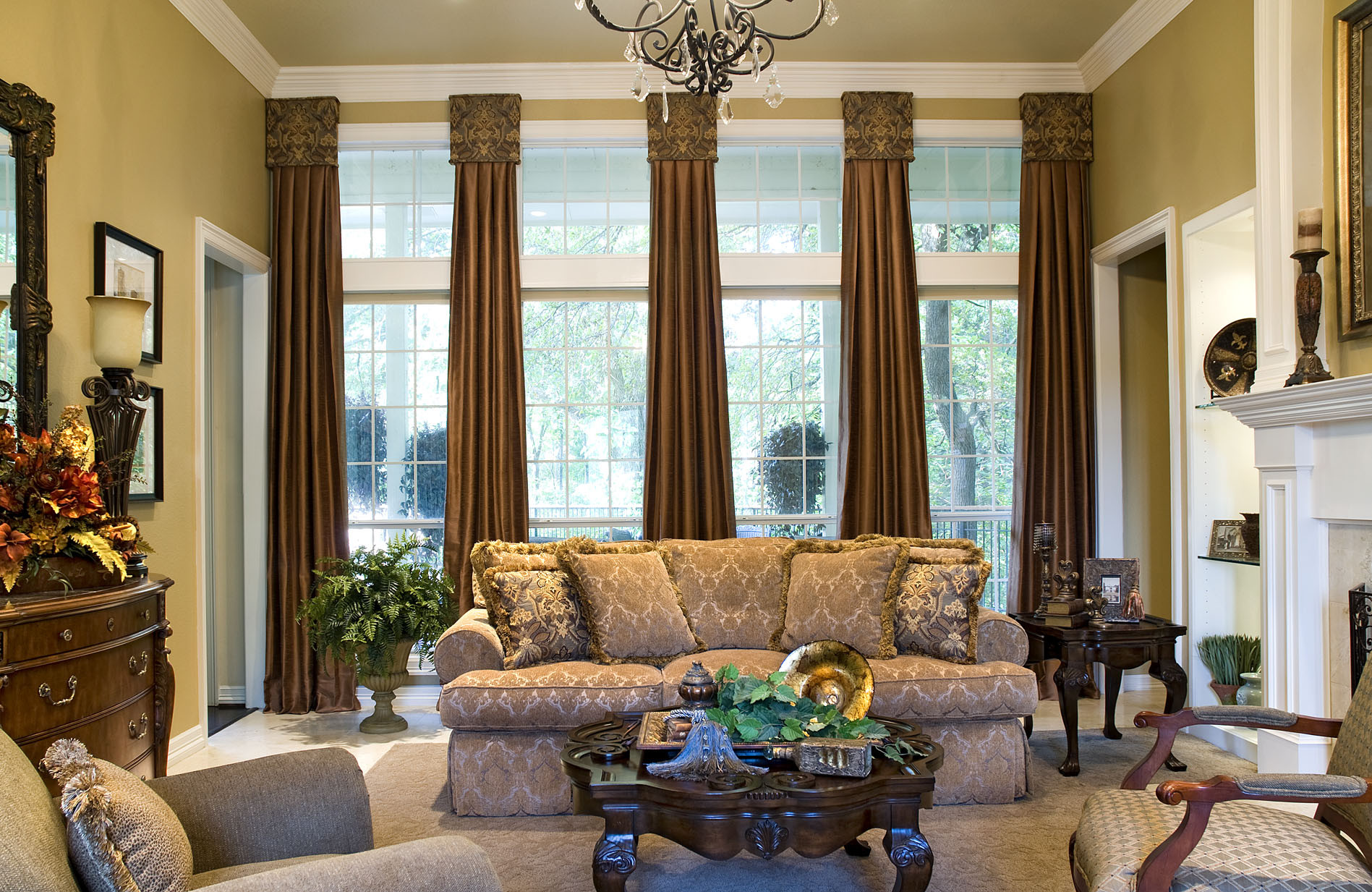 Living Room Window Curtains  Window Treatments with Drama and Panache