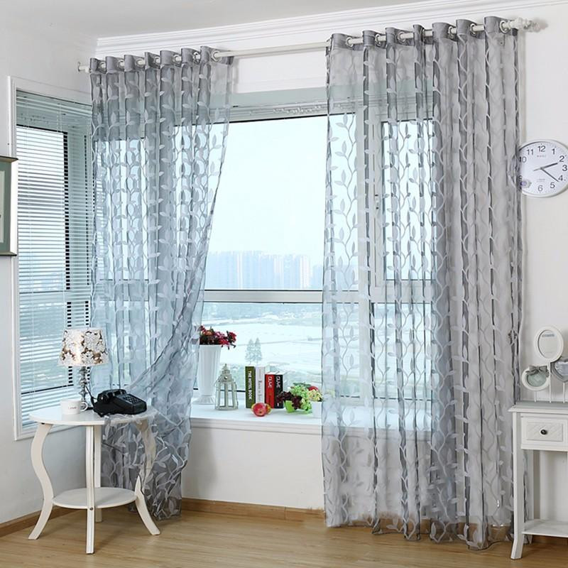 Living Room Window Curtains  3D Tulle Sheer Curtains For Living Room Light Grey Leaves