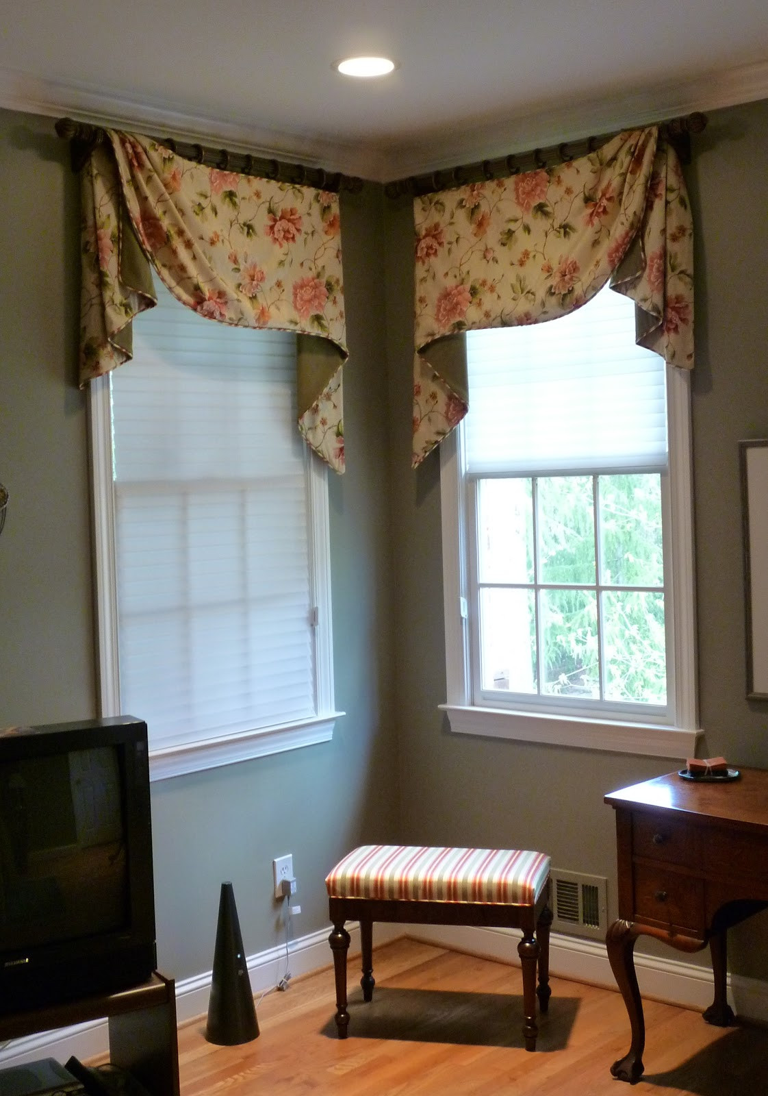 Master Bedroom Window Treatments  Youngblood Interiors Corner Window Treatments for the
