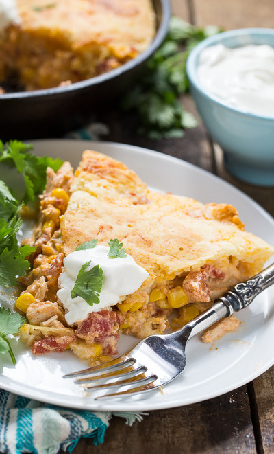 Mexican Casserole With Cornbread Topping  Mexican Chicken Casserole with Cornbread Topping
