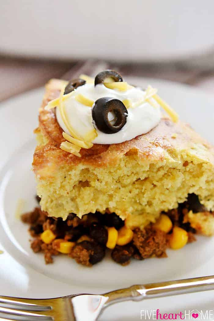 Mexican Casserole With Cornbread Topping  Mexican Beef & Cornbread Bake • FIVEheartHOME