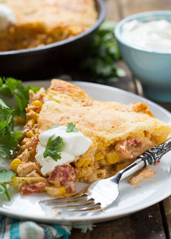 Mexican Casserole With Cornbread Topping  Mexican Chicken Cornbread Casserole