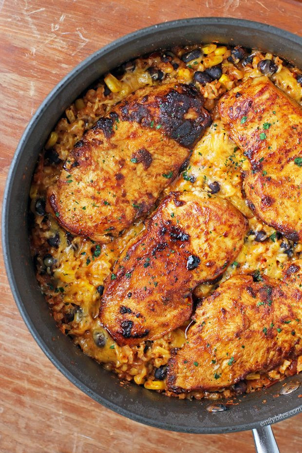 Mexican Chicken And Rice Recipe  Mexican Chicken Cauliflower Rice Skillet Emily Bites