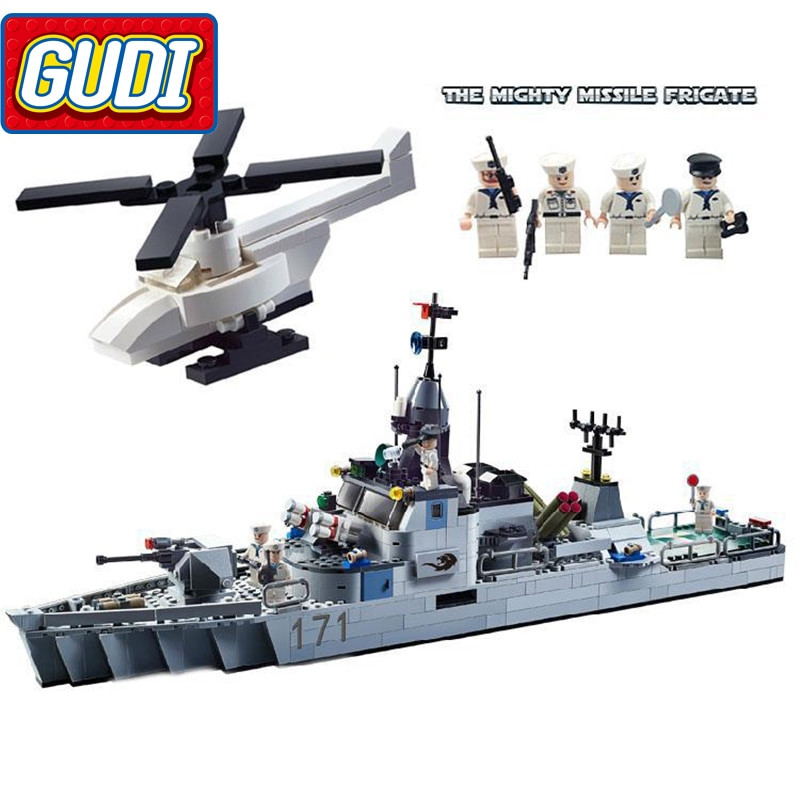 Military Gifts For Kids  GUDI Military Educational Frigate Building Blocks Toys For
