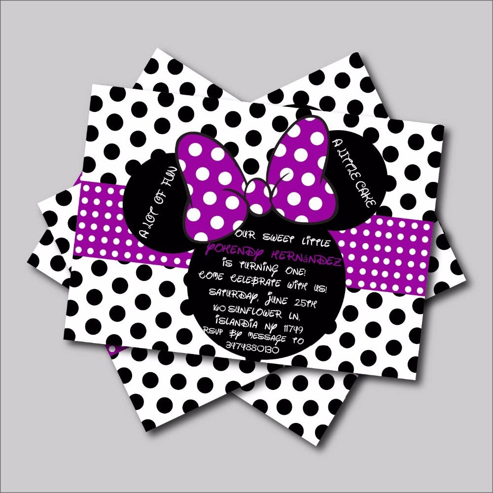 Minnie Mouse Baby Shower Invitations Party City  20 pcs lot Custom purple Minnie Mouse Birthday invitations