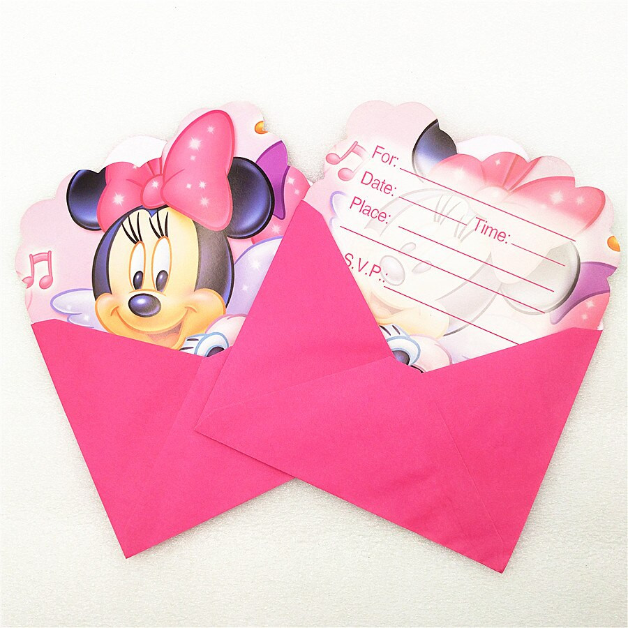 Minnie Mouse Baby Shower Invitations Party City  6pc Invitation Cards Envelope Minnie Mouse party supplies