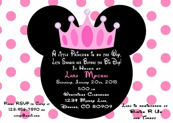 Minnie Mouse Baby Shower Invitations Party City  Minnie Mouse Princess Baby Shower Invitation Printed With