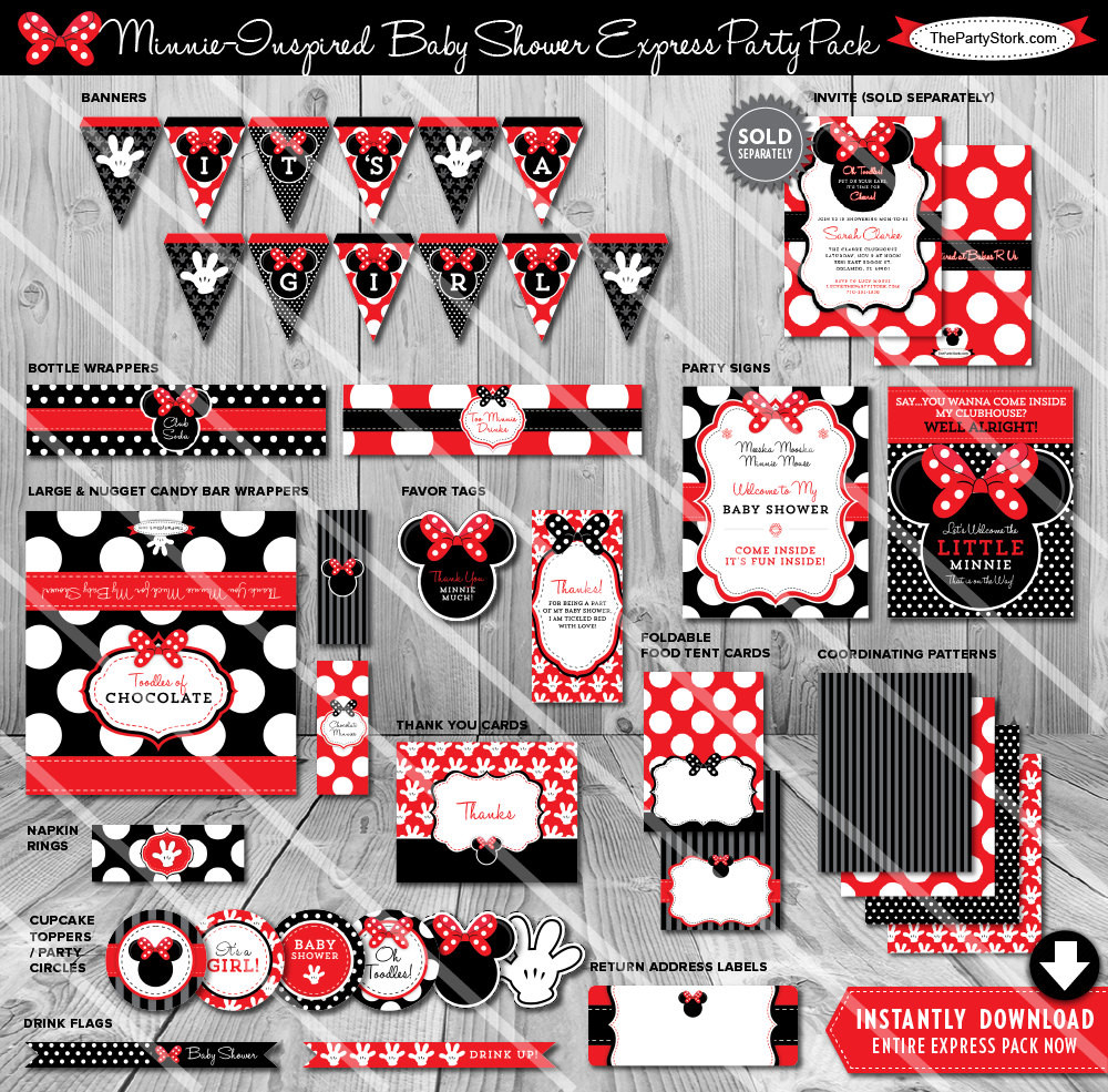 Minnie Mouse Baby Shower Invitations Party City  Minnie Mouse Baby Shower Decorations Red Baby Shower