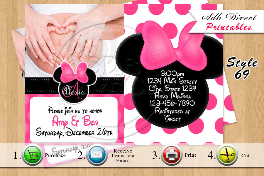 Minnie Mouse Baby Shower Invitations Party City  Minnie Mouse Baby Shower Invitation Minnie by
