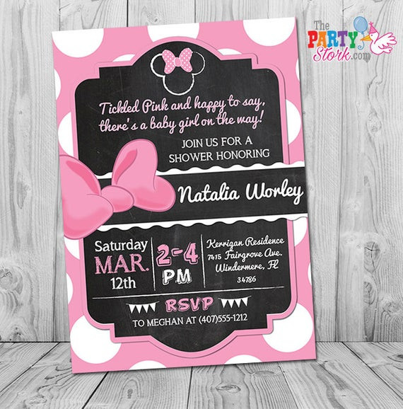 Minnie Mouse Baby Shower Invitations Party City  Minnie Mouse Baby Shower Invitation Printable Minnie Mouse