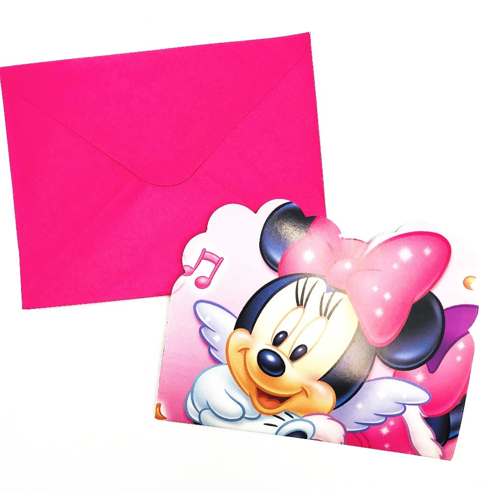 Minnie Mouse Baby Shower Invitations Party City  6pcs Pink Minnie Mouse Birthday Party Invitations Ideas