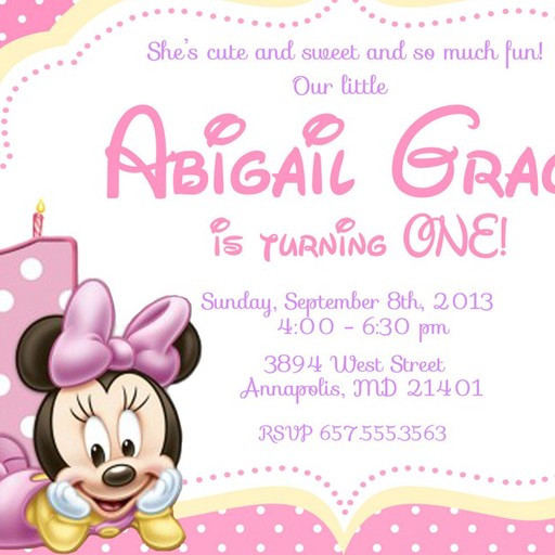 Minnie Mouse Baby Shower Invitations Party City  Baby Minnie Mouse First Birthday Party Invitation