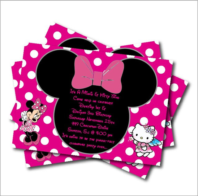 Minnie Mouse Baby Shower Invitations Party City  14 pcs lot Minnie Mouse & Kitty Girls Birthday Party