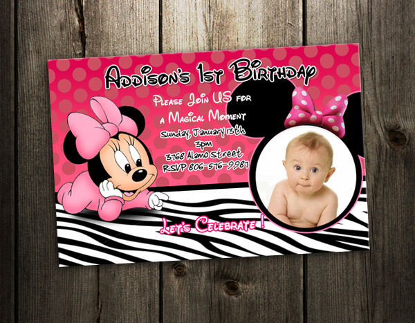 Minnie Mouse Baby Shower Invitations Party City  MINNIE MOUSE ZEBRA BIRTHDAY PARTY INVITATION PHOTO baby