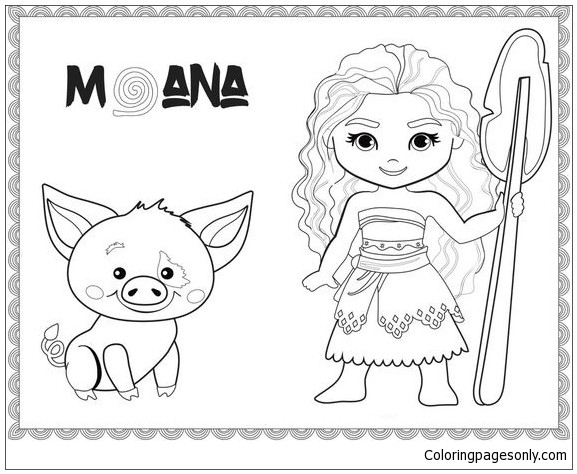 Moana Baby Coloring Pages  Baby Moana And Pig Coloring Page Free Coloring Pages line
