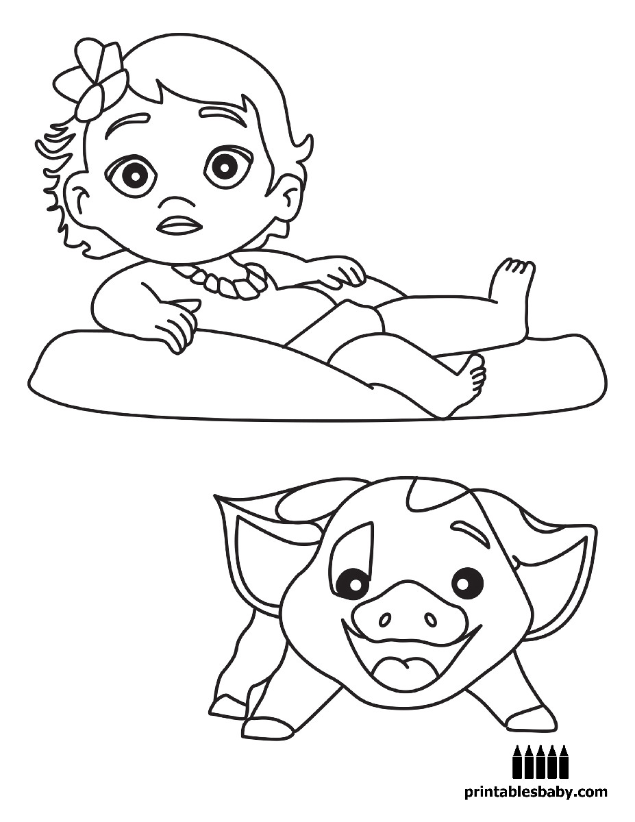 Moana Baby Coloring Pages  Moana